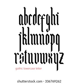 Blackletter modern gothic font. All lowercase letters