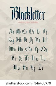 Blackletter modern gothic font. All alphabet over old grunge textured paper background