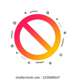 Blacklist sign icon. User not allowed symbol. Colorful geometric shapes. Gradient blacklist icon design.  Vector