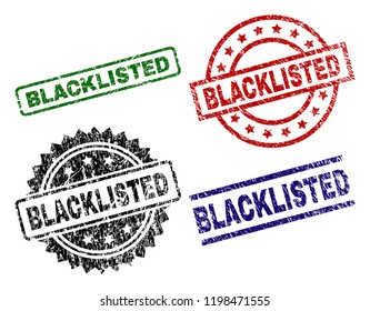 BLACKLISTED seal prints with distress style. Black, green,red,blue vector rubber prints of BLACKLISTED tag with dust style. Rubber seals with round, rectangle, medallion shapes.