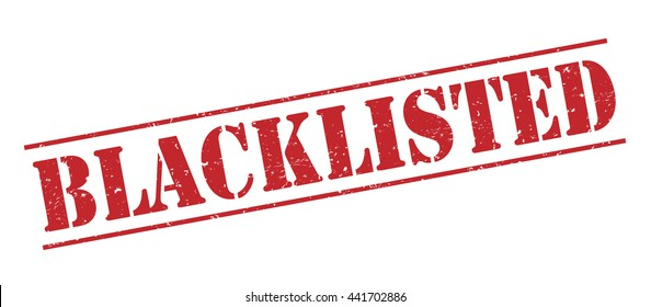 blacklisted vector stamp on white background
