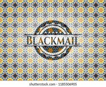 Blackmail arabesque badge. arabic decoration.