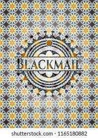 Blackmail arabic badge background. Arabesque decoration.