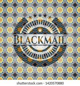 Blackmail arabic emblem background. Arabesque decoration.