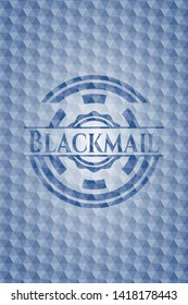 Blackmail blue emblem or badge with abstract geometric pattern background. Vector Illustration. Detailed.