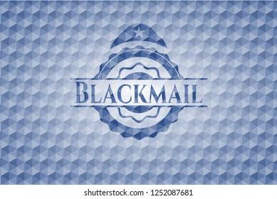 Blackmail blue emblem with geometric pattern.