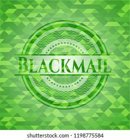 Blackmail green emblem. Mosaic background
