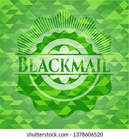 Blackmail green emblem with mosaic ecological style background