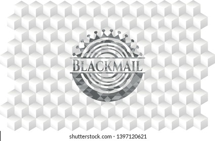 Blackmail grey emblem with cube white background
