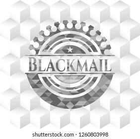 Blackmail grey emblem with geometric cube white background