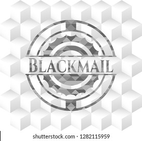 Blackmail grey emblem. Vintage with geometric cube white background