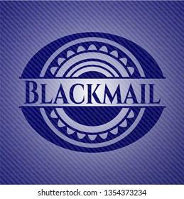 Blackmail jean or denim emblem or badge background