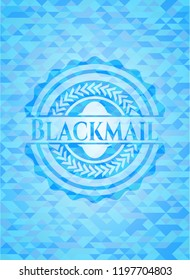 Blackmail light blue emblem with triangle mosaic background