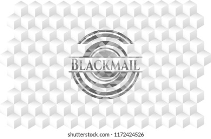 Blackmail realistic grey emblem with cube white background