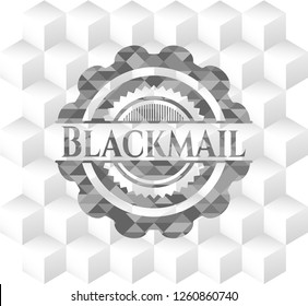 Blackmail realistic grey emblem with geometric cube white background