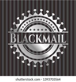 Blackmail silver badge. Vector Illustration. Mosaic.