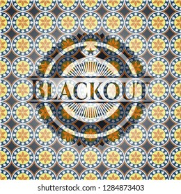 Blackout arabesque style emblem. arabic decoration.