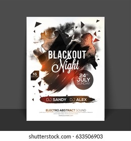 Blackout Night Party Flyer, Template, Banner design with abstract brush strokes and halftone texture.