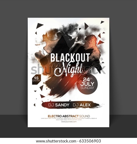 Blackout Night Party Flyer Template Banner Stock Vector (Royalty ...
