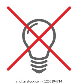 Blackout and No Electricity Symbol with Lamp Flat. Vector Illustration.