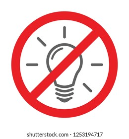 Blackout and No Electricity Symbol with Lamp Flat Icon and Not Approved Symbol. Vector Illustration.