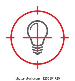 Blackout and No Electricity Symbol with Lamp Flat Icon and Target. Vector Illustration.