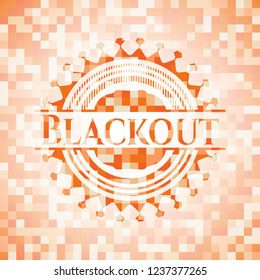 Blackout orange tile background illustration. Square geometric mosaic seamless pattern with emblem inside.