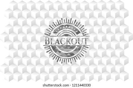 Blackout retro style grey emblem with geometric cube white background