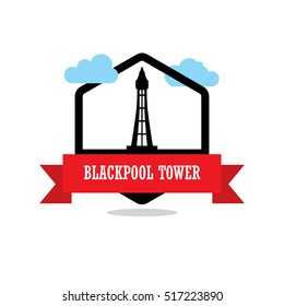 Blackpool Tower Ribbon banner with clouds. Landmarks vector collection