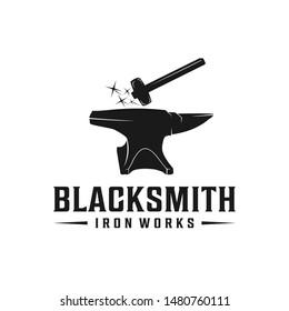 Blacksmith anvil with hammer retro hipster logo design