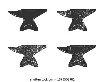 Blacksmith anvil icon shape symbol. Iron smith workshop logo sign. Vector illustration image. Isolated on white background.
