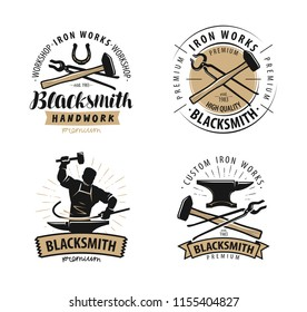Blacksmith, forge logo or label. Blacksmithing, iron work symbol. Vector