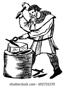 The blacksmith  forges the knife on the anvil. Hand drawing in medieval style.Vector illustration.