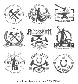 Blacksmith graphic vintage emblems with working craftsman hammers anvil chain horseshoe wheat and inscriptions isolated vector illustration