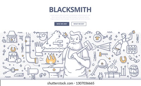 Blacksmith with hammer standing near anvil in workshop. Concept of blacksmithing and smith craft. Hand drawn doodle illustration for web banners, hero images, printed materials