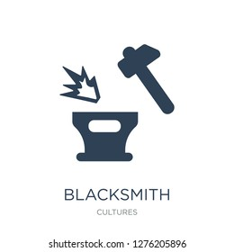 blacksmith icon vector on white background, blacksmith trendy filled icons from Cultures collection, blacksmith vector illustration