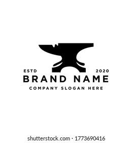 Blacksmith Iron Anvil Forge Foundry vintage retro logo design
