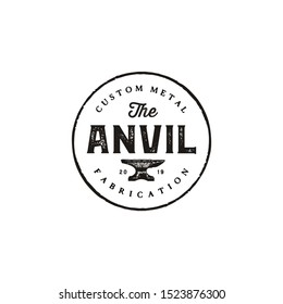 Blacksmith Iron Anvil Foundry vintage retro logo design