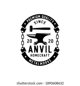 Blacksmith iron anvil foundry vintage logo design