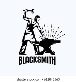 blacksmith isolated vector symbol, stylized retro emblem template