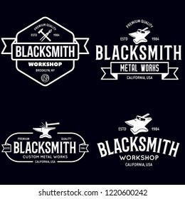 Blacksmith labels set. Design elements for metalworks service emblems, badges, logos. Monochrome seal collection. Vector vintage illustration.