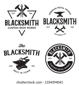 Blacksmith labels set. Design elements for metalworks service emblems, badges, logos. Monochrome seal collection. Vector vintage illustration.