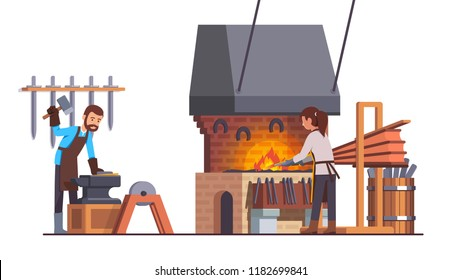 Blacksmith man working with sledge hammer doing metalwork at smithy workshop with anvil, fire bellows, forge, grinding wheel. Assistant woman heating iron. Smith shop interior flat vector illustration