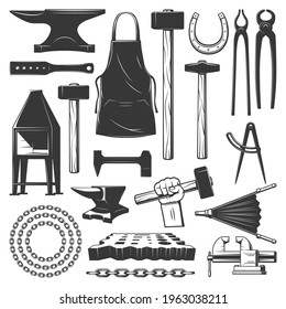 Blacksmith metalwork workshop tools vector icons. Sledgehammer, chain and horseshoe, anvil, apron and forge, vise, blacksmithing tongs and pliers, hammer in hand, nail header, bellows and swage block