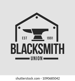 Blacksmith smith union shoer anvil logo set. Smith allince logos. Heavy industry.