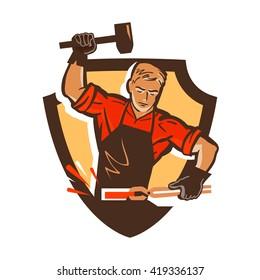 blacksmith, smithy logo or icon. vector illustration