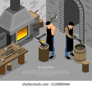 Blacksmith Work Isometric Illustration