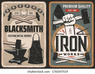 Blacksmith work, steel metal forge retro posters, vector retro posters. Blacksmith anvil and hammer in hand, metal forging industry, metalsmith furnace and foundry tools, horseshoes and iron chain