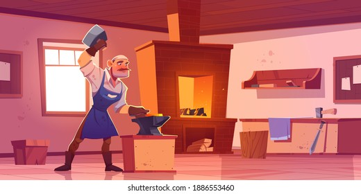 Blacksmith works with hammer and anvil in forge. Vector cartoon interior of smithy workshop with brick furnace with fire, shelves with tools and metallurgy equipment