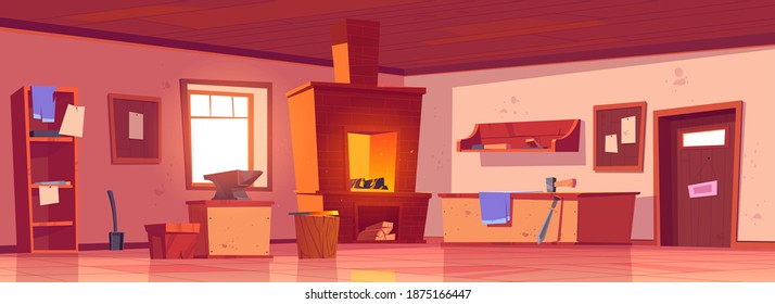 Blacksmith workshop, forge with anvil and hammer on workbench. Vector cartoon interior of smithy with brick furnace with fire, shelves with tools and metallurgy equipment